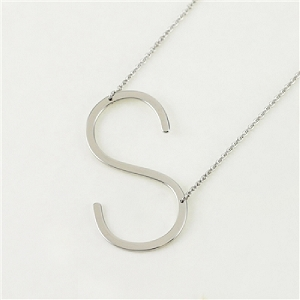 Silver Large Sideways Initial Necklace S