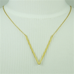Gold Large Sideways Initial Necklace V