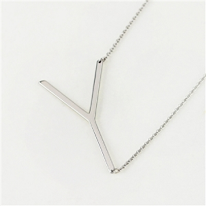 Silver Large Sideways Initial Necklace Y