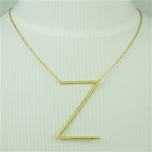 Gold Large Sideways Initial Necklace Z