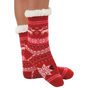 Cozy Sherpa Nordic 2 Sock Red