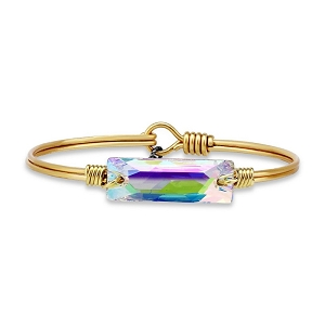 Hudson Bangle Bracelet In Crystal AB Gold 7.0