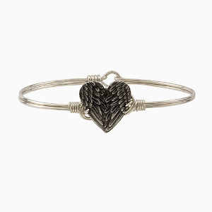 Angel Wing Heart Bangle Bracelet Silver 7.5