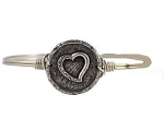 Wax Seal Heart Bangle Silver 7.0