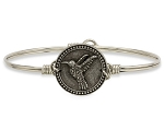 Hummingbird Bangle Bracelet Silver 7.5
