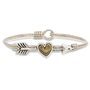Follow Your Heart Bangle Bracelet Silver 7.0