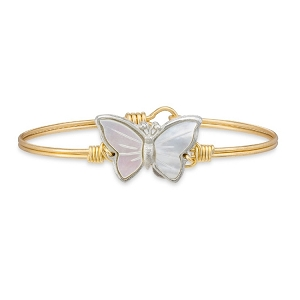 Butterfly Shell Brass Bangle Bracelet 7.5