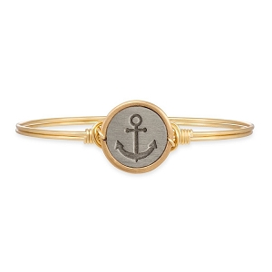 Stay Anchored Bangle Bracelet Brass 7.5