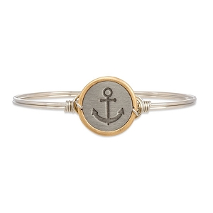 Stay Anchored Bangle Bracelet Silver 7.0