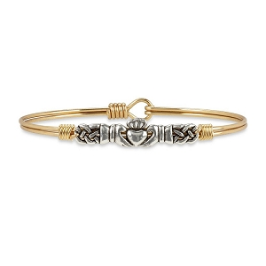 Claddagh Bangle Bracelet Brass 7.5