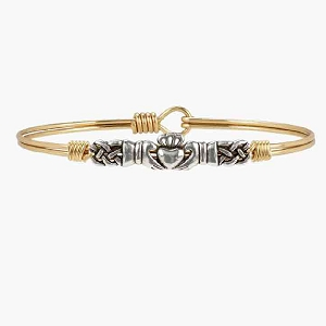 Claddagh Bangle Bracelet Brass 7.0