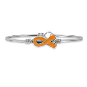 Leukemia Awareness Bangle Bracelet Silver 7.5