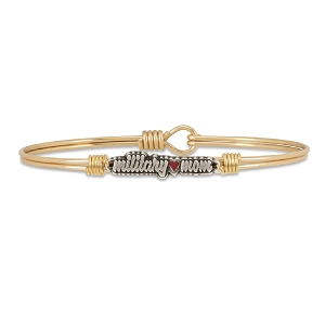 Military Mom Bangle Bracelet Brass 7.0