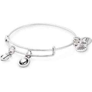 Strength Duo Charm Bangle Shiny Silver
