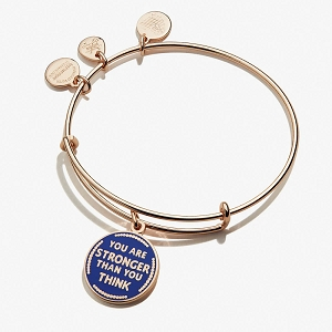You Are Stronger Than You Think Charm Bangle Shiny Rose Gold