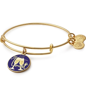 Let's Toast Charm Bangle Shiny Gold