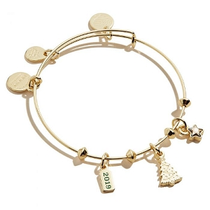 Christmas Tree Trio 2019 Charm Bangle Bracelet Shiny Gold