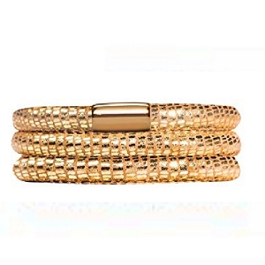 Endless Jennifer Lopez Leather Bracelet Triple Golden Reptile 7.0