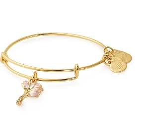 Pink Tulips Charm Bangle Gold