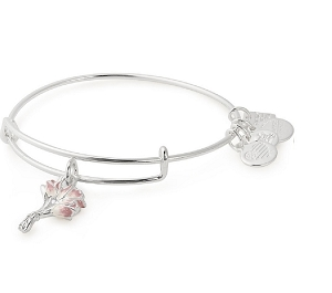 Pink Tulips Charm Bangle Silver
