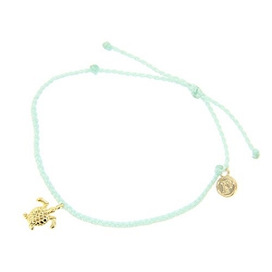 Turtle Bitty Braid Bracelet Gold Seafoam
