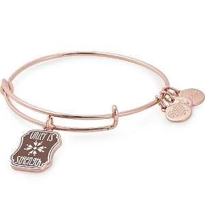 Unity is Strength Charm Bangle Rose Gold