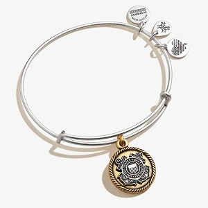 U.S. Coast Guard Charm Bangle Two Tone Rafaelian Silver