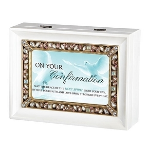 Roman On Your Confirmation White Large Jeweled Music Box