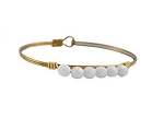 White Faceted Bead Bangle Brass 7.5