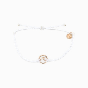 Wave Charm Rose Gold White