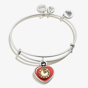 Wizard of Oz Tin Man Heart Charm Bangle Two Tone