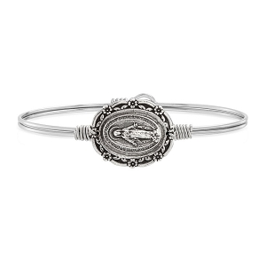 Mother Mary Bangle Bracelet Silver Tone 7.0