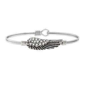 Angel Wing Bangle Bracelet in Crystal Silver 7.5