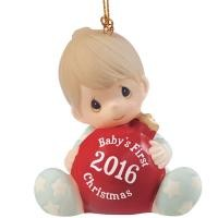 Baby's First Christmas 2016 Boy Ornament 161006