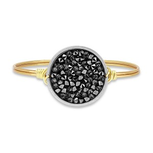 Druzy Bangle Bracelet in Metallic Black Brass 7.5