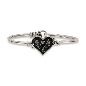 Angel Heart Bangle Silver 7.0