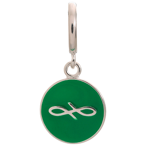 Endless Coin Green Sterling Silver Charm 43307-10