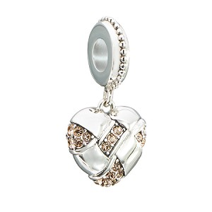 Pave Woven Heart Charm 2025-1339