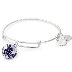 Globe Charm Bangle Shiny Silver