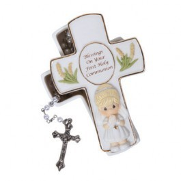 Blessings On Your First Holy Communion Girl Covered Box With Rosary