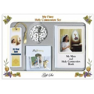 First Communion Gift Set with Girls Mass Book Rosary and Case Scapular Pin and Book Mark
