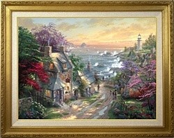 Thomas Kinkade Village Lighthouse 25 1/2 x 34  Canvas