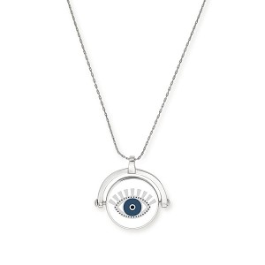 Meditating Eye Color Infusion Expandable Necklace Shiny Silver