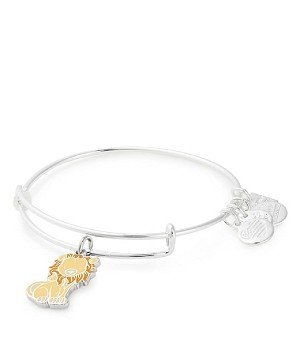 Lion Charm Bangle Bracelet Shiny Silver Finish