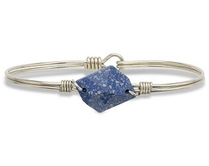 Brooklyn Bangle Bracelet in Marbled Blue Bracelet Silver 7.0