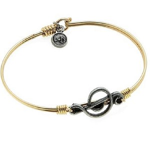 Music Treble Clef Bangle Brass 7.0