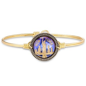New York City Intaglio Brass Bangle Bracelet 7.5