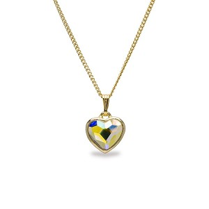 Crystal AB Heart Pendant Necklace Gold NK143G