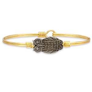 Owl Brass Bangle Bracelet 7.0