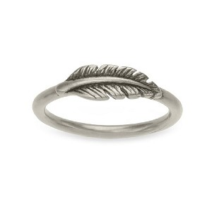 Lucky Feather Ring Silver Size 6